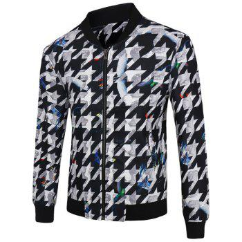 Stand Collar Zip-Up 3D Abstract Houndstooth Print Jacket