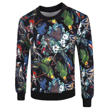 Crew Neck Long Sleeve 3D Birds and Florals Print Sweatshirt