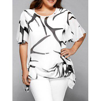 Buy Printed Chiffon Asymmetric Plus Size Blouse WHITE