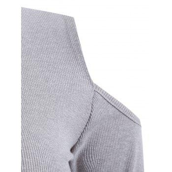 Ribbed Cut Out Zippered T-Shirt - GRAY XL