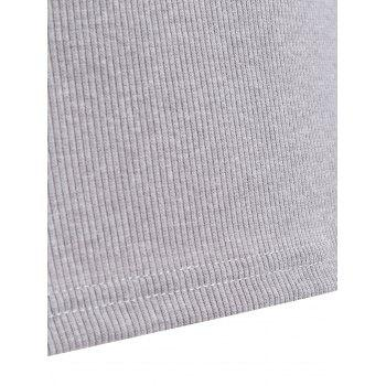Ribbed Cut Out Zippered T-Shirt - GRAY GRAY