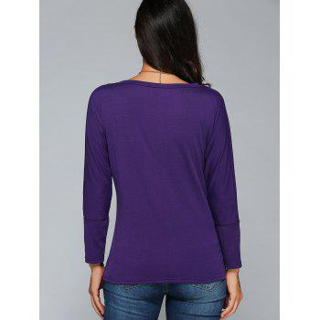 V-Neck Plain Slimming T-Shirt - PURPLE XL