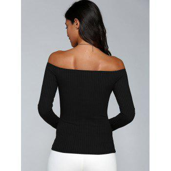Off The Shoulder Ribbed Stretchy T-Shirt - BLACK M
