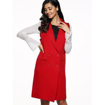 Double Breasted Knitted Vest - RED ONE SIZE