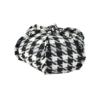 Winter Houndstooth Pattern Knit Artist Beret