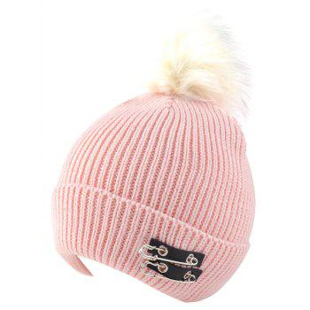 Winter Safe Pin Fuzzy Ball Knit Hat