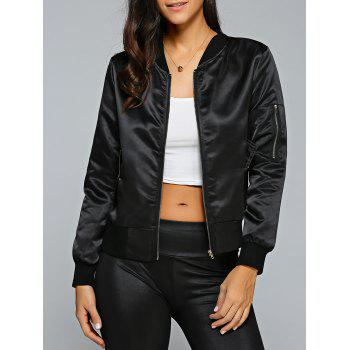 Satin Zip Up Bomber Jacket