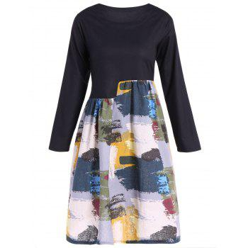 Spliced Print Swing Dress