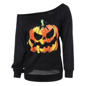 Long Sleeve Pumpkin Print Sweatshirt