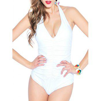 Plunging Neck Ruched One Piece Swimwear