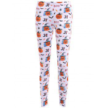 Bat Pumpkin Print Leggings