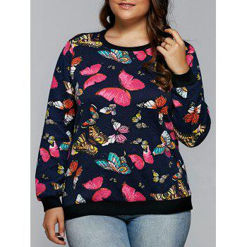 Butterfly Print Textured Pullover Sweatshirt