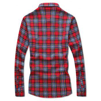 Pocket Design Thermal Plaid Shirt - RED RED