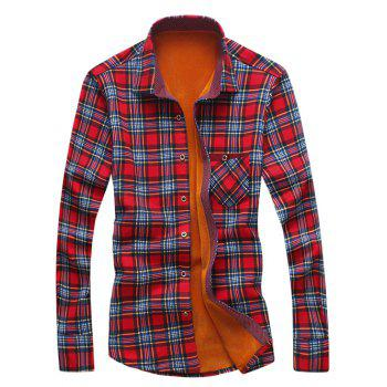 Pocket Design Thermal Plaid Shirt