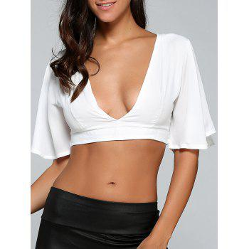 Plunging Neck String Fitted Crop Top