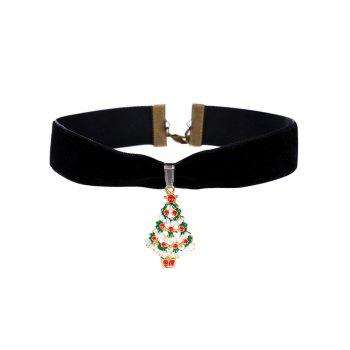 Christmas Snow Tree Velvet Wide Choker Necklace