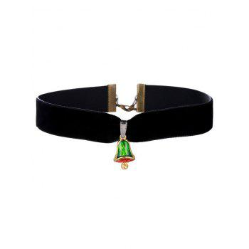 Enamel Bell Velvet Wide Choker Necklace