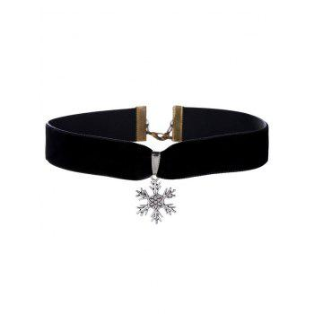 Christmas Snowflake Velvet Wide Choker Necklace