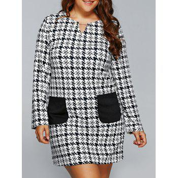 Houndstooth Print Long Sleeve Shift Dress with Pocket