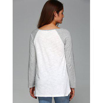 Raglan Sleeve Asymmetrical T-Shirt - GREY/WHITE GREY/WHITE
