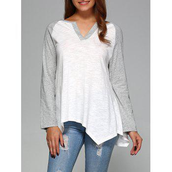 Raglan Sleeve Asymmetrical T-Shirt - GREY AND WHITE GREY/WHITE