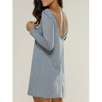 Strappy Backless Long Sleeve Dress