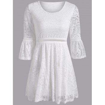 Bell Sleeve Openwork Slimming Dress