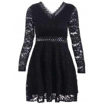 V-Neck Openwork Lace A-Line Dress