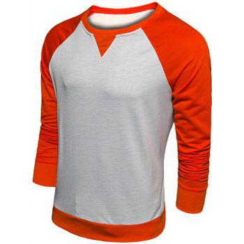 Raglan Sleeve Color Block Crew Neck Sweatshirt - ORANGE 2XL