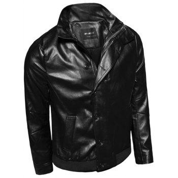Stand Collar Zip-Up Single-Breasted PU-Leather Jacket