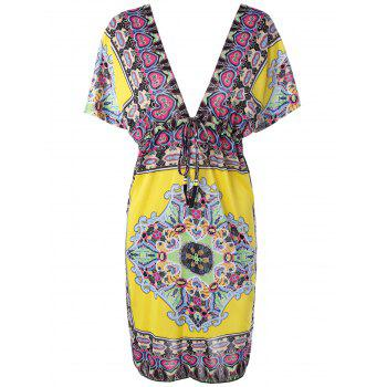 Plunging Neck Cape Sleeve Print Dress