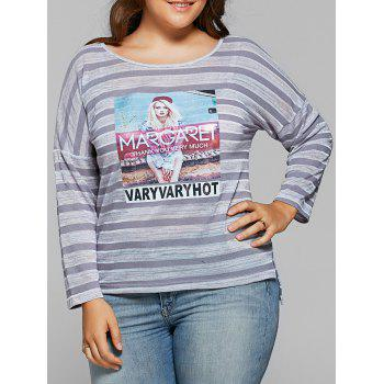 Casual Cool Girl Pattern Long Sleeve Stripe T-Shirt