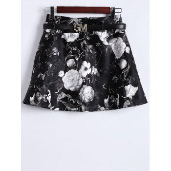 Floral Print Faux Leather Skirt