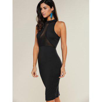 See-Through Bodycon Knee Length Dress - BLACK M