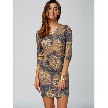 Leopard Chain Imprimer Mini Robe moulante - multicolore M