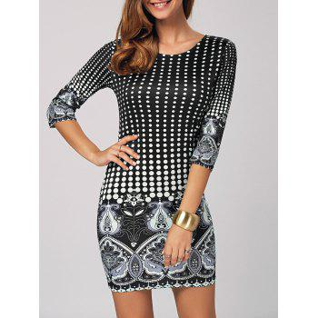 Polka Dot Printed Bodycon Mini Dress
