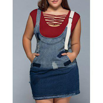 Ripped Denim Plus Size Pinafore Dress
