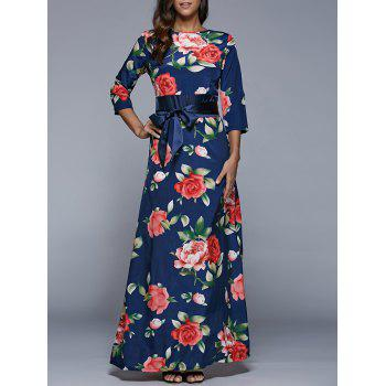 3/4 Sleeve Floral Print High Waist Dress