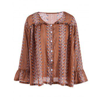Buttoned Flare Sleeve Print Blouse