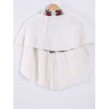 Knitted Flower Pattern Waistcoat - WHITE ONE SIZE