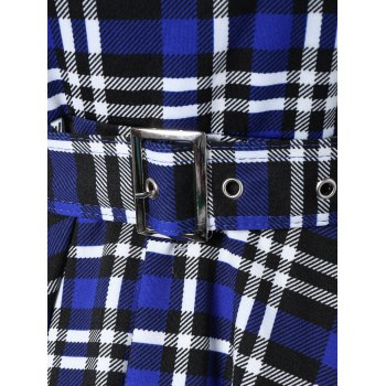 Plaid Belted Dress Vintage - Bleu M