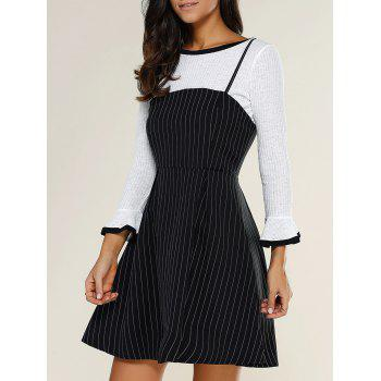 Long Sleeve Top + Stripe Suspender Dress