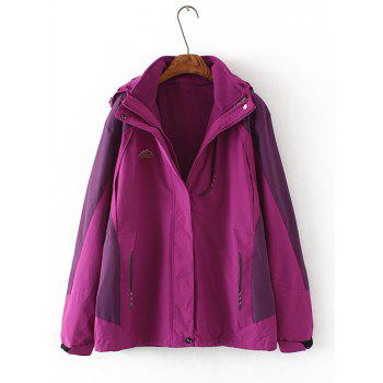 Plus Size Flocking Hooded Jacket