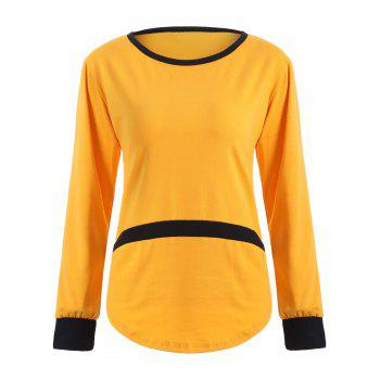 Scoop Neck Patchwork Contrast T-Shirt - YELLOW YELLOW