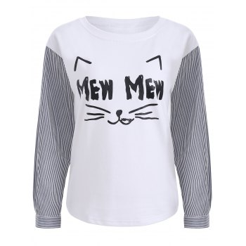 Cartoon Print Striped Long Sleeve T-Shirt