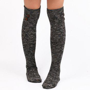 Buttons Snowflake Point Knit Stockings - BLACK BLACK