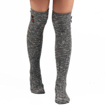 Buttons Snowflake Point Knit Stockings - GRAY GRAY