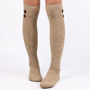 Buttons Snowflake Point Knit Stockings - LIGHT KHAKI LIGHT KHAKI