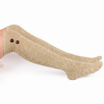 Buttons Snowflake Point Knit Stockings -  LIGHT KHAKI