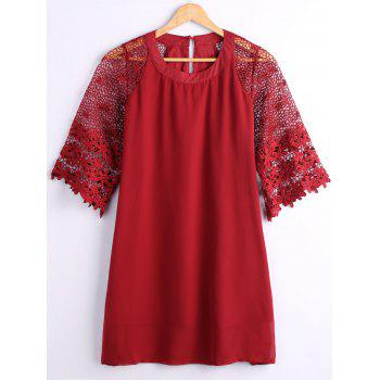 Hollow Out Lace Sleeves Loose Dress
